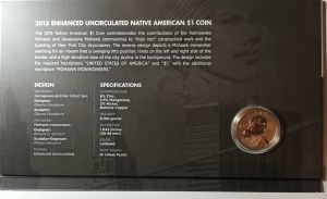 Back of the folder for the 2015 American $1 Coin and Currency Set