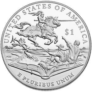 2016 Mark Twain Commemorative Silver Dollar reverse