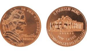 Experimental test strikes of the 5-cent denomination using Martha Washington/Mount Vernon nonsense dies