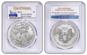 An example of a PCGS special First Strike insert label for the 2016 10th anniversary of the gold Buffalo coins.