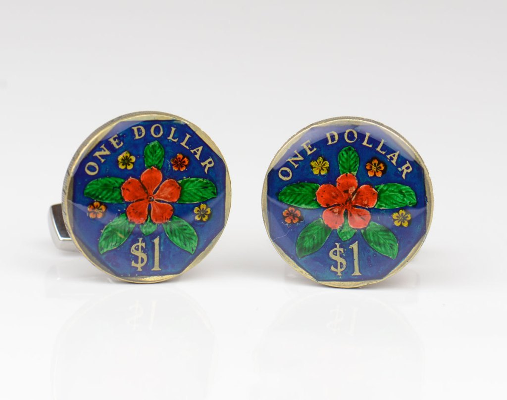 Painted Singapore Dollar coin ring by Monedus