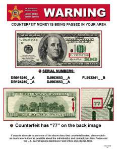 Counterfeit Currency Warning issued by the Baltimore Field office of the U.S. Secret Service in 2014.