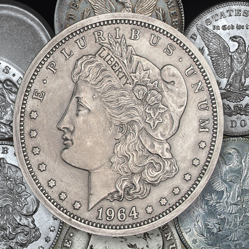 Close-up of the alleged 1964 Morgan Dollar