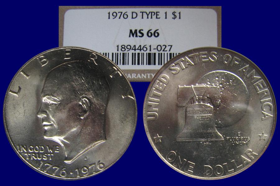 1976-D T1 Eisenhower $1 NGC MS66