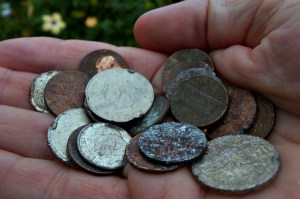 Coins found in the recycling stream.