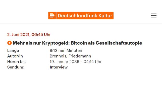 DLF Kultur-Interview – Warum Bitcoin mehr als nur digitales Geld ist