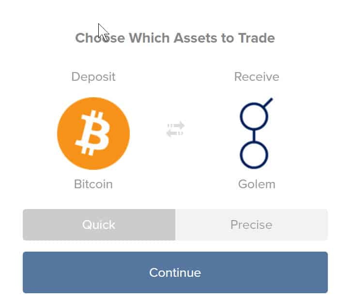 Buy GNT from Shapeshift