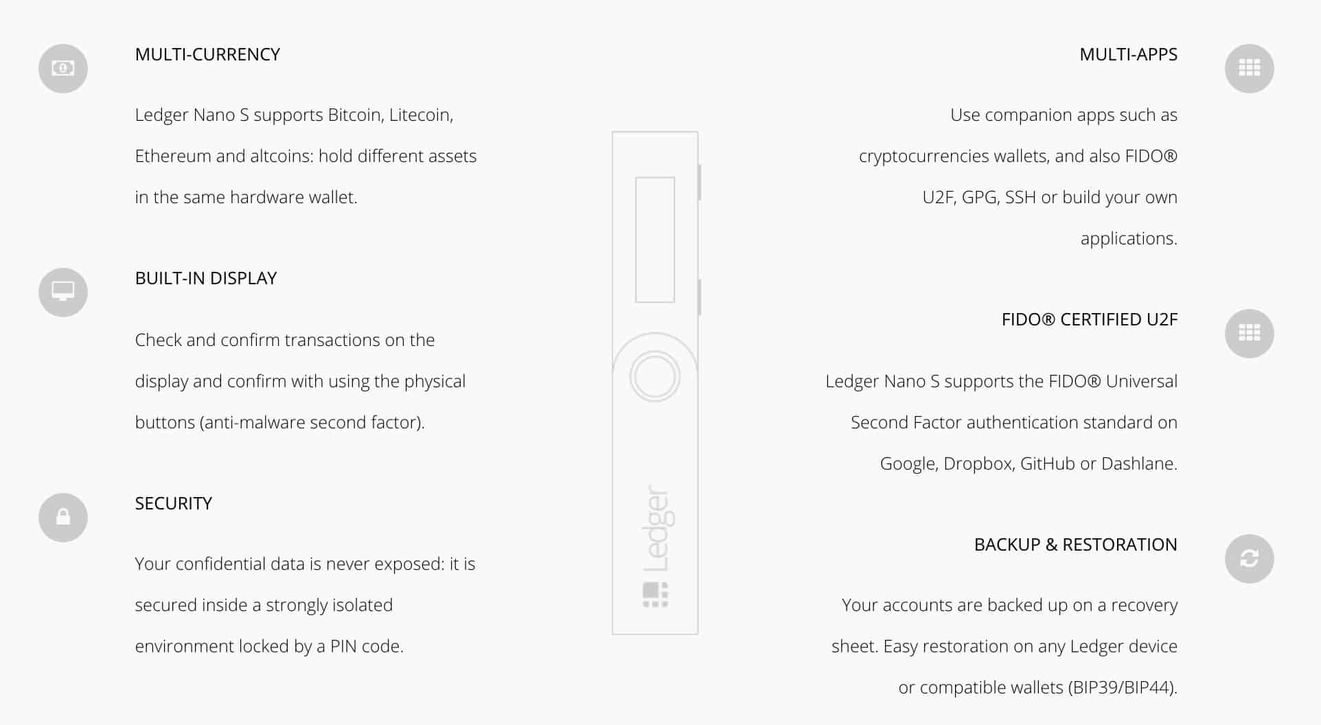 Ledger Nano S Features