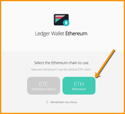 ETH on Ledger device