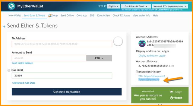 ERC20 token to Ledger wallet
