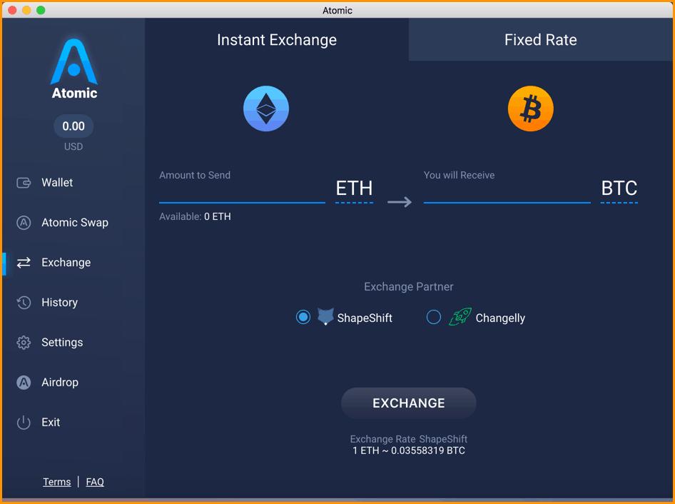 Atomic wallet in-built exchange
