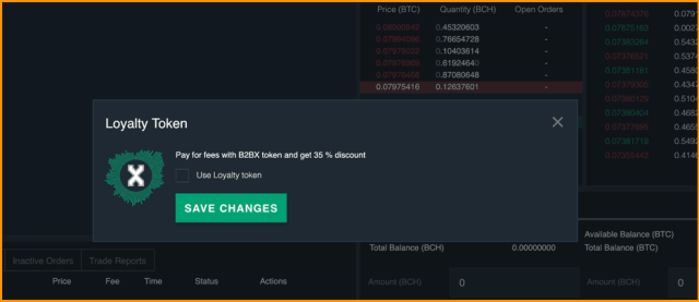 B2BX trading fee discount