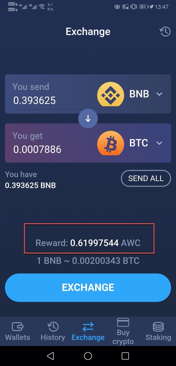 AWC token reward