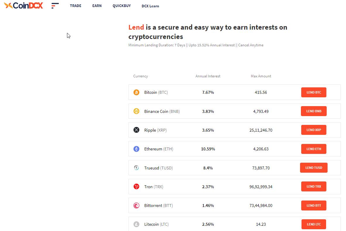 CoinDCX - Lend Feature