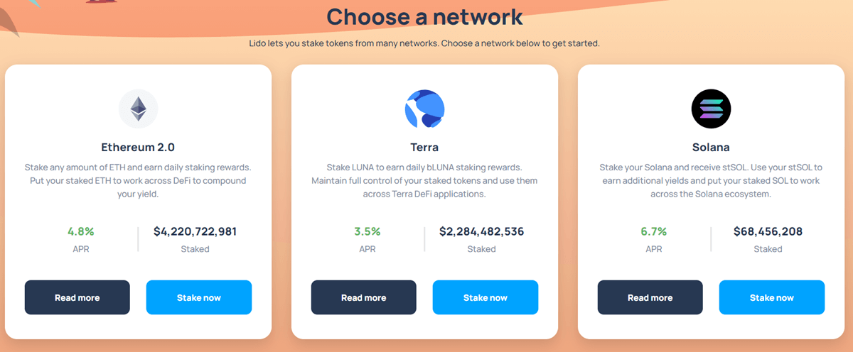 Lido Finance - Tokens available for staking