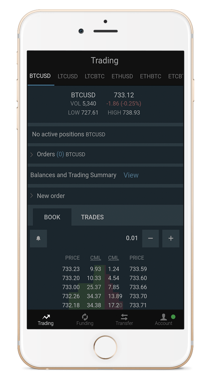 The Bitfinex exchange app on iPhone