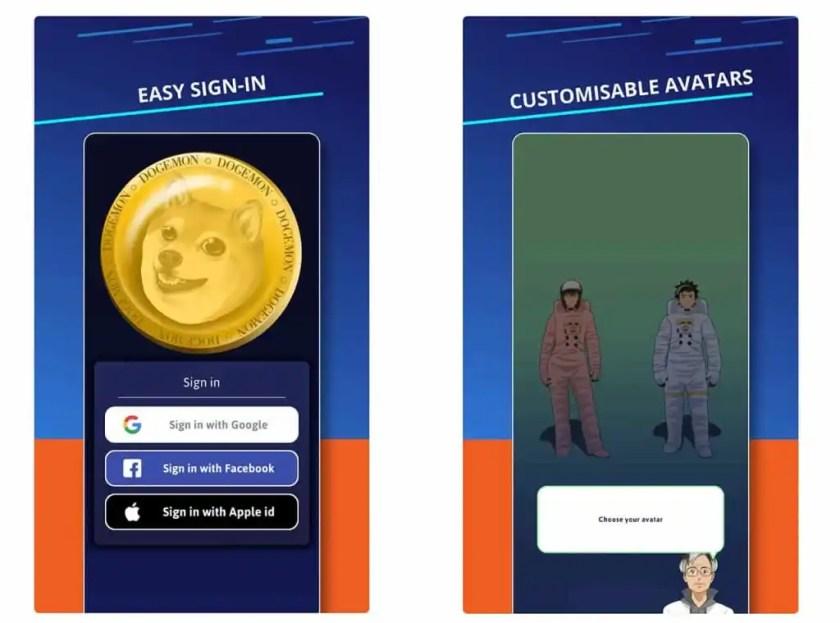 Dogemon login and avatars
