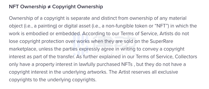 Is it reasonable that the NFT offered by Paypal does not transfer the copyright of the work?