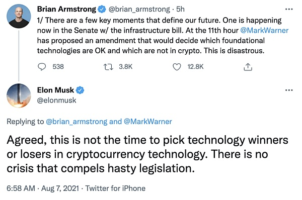 Musk: This is not the time to choose technical winners or losers in cryptocurrency technology, and should not rush into legislation