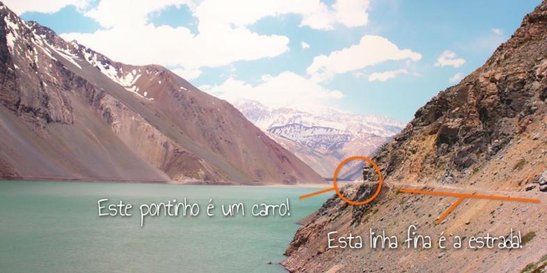 Para você ter uma noção melhor da escala do Embalse el Yeso, no Chile