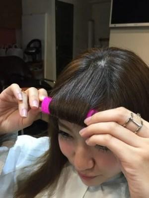 くるんっと前髪カーラーをモデルさんに使ってみたらいい感じだった