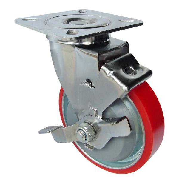 Càng G xoay, có thắng, bánh xe PU lõi thép G130-02U của công ty cổ phần Làng Rùa