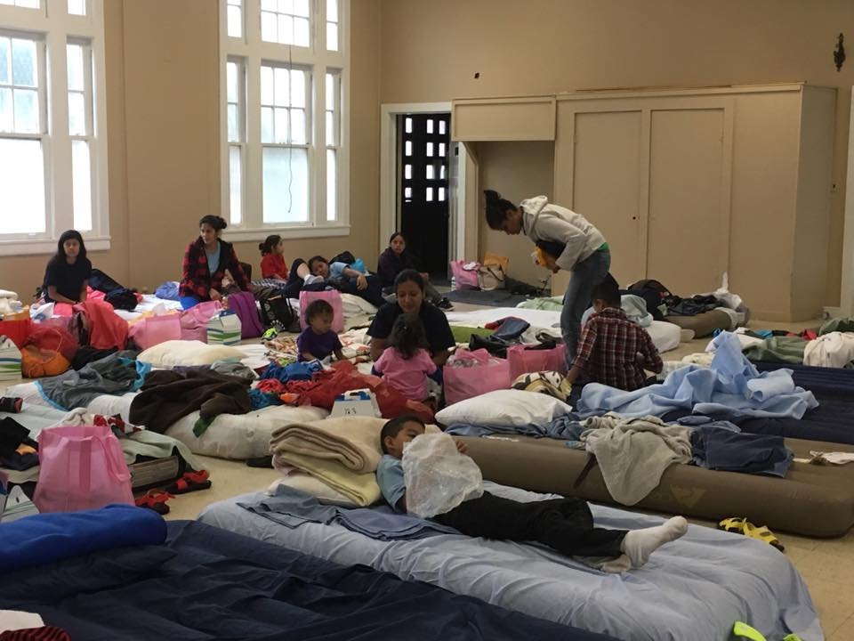 Makeshift beds vie for real estate in the San Antonio Mennonite Church's fellowship hall on the morning of December 4, 2016. (Photo courtesy S.A. Mennonite Church)