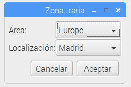 Opciones de configuración zona horaria raspbian