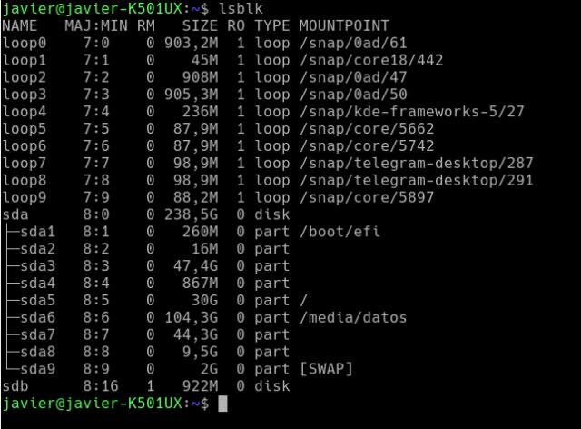 Captura del comando lsblk en una terminal y la salida del mismo.