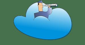 Logotipo de la aplicación. Se ve un dibujo de un comandante, con un catalejo mirando a lo lejos, sobre una nube color azul.