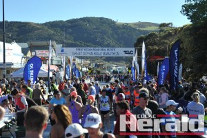 Great Ocean Road Marathon organisers estimate between 10,000 and 12,000 spectators gathered around the finish line outside the Apollo Bay Hotel. The six events attracted 5700 entries.
