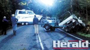A ute and a four-wheel-drive vehicle lost control on an icy section of the Apollo Bay-Forrest Road and crashed earlier this week. The crash was the third in four days on Apollo Bay-Forrest Road.