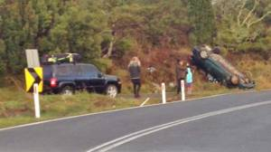 A crash crashed and flipped on a section of the Forrest-Apollo Bay Road near Skenes Creek yesterday. The car's occupants escaped with no major injuries.
