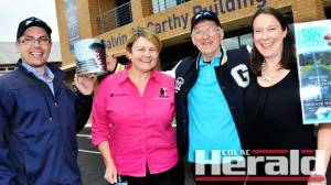 Colac's John Timms, second from right, is going to Adelaide for a six-day race to raise money for Colac Area Health's Long Road Appeal. He is pictured with CAH's Cancer Treatment Working Party Committee Richard Riordan, McGrath breast cancer nurse Michelle Hamblin and Jennifer Levine.
