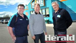 Otway Business Inc president Chris Smith, centre, says he is impressed with this year's Powercor Colac Otway Business Awards nominees. Mr Smith is pictured with Civic Home Hardware's Tony Hayes, left, and Clinton Feldtman. Civic Home Hardware won last year's Retail Award.