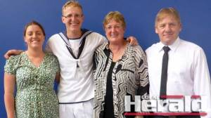 Seaman ATA Jonty Creighton, second from left, with sister Shelby and parents Cheryl and Graeme celebrate his Aviation Technician Aircraft course graduation.