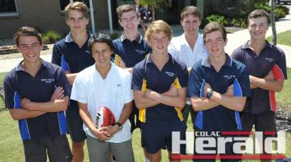 Eleven Colac district footballers remain in the mix to play with the Geelong Falcons' under-16 team this year, and will play in an intraclub trial match at Colac's Central Reserve on Sunday. Pictured, from left, are Cooper Stephens, Adam Garner, Leigh Gorwell, Darcy Howard, Keenan Hickey, Thomas Cahill, Dylan Slater and Bryce McDonald. Jarrod Walters, Fraser O'Gorman and Tristan Smith are absent.
