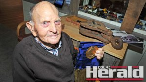 Colac's Les Parker turns 100 tomorrow. Les is pictured with one of his cycling medals and sash he received in the 1930s.