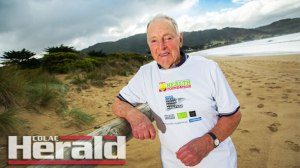 Apollo Bay's Harold Cockerell, 87, will compete in tomorrow's 14-kilometre Paradise Run alongside his son, grandson and great-grandson. The event is part of this weekend's Great Ocean Road Marathon.