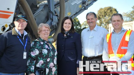 From left, Colac Otway Shire councillors Michael Delahunty and Lyn Russell, Corangamite MP Sarah Henderson, mayor Frank Buchanan and VicRoads' Tony Hedley were in Colac on Monday to launch the start of the Princes Highway duplication between Colac and Winchelsea. The first stage of work is within Colac.