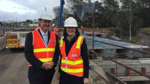 Polwarth MP Terry Mulder and Corangamite MP Sarah Henderson watched as workers lifted 18 beams onto the bridge over the Barwon River as part of the Princes Highway duplication between Winchelsea and Waurn Ponds yesterday.