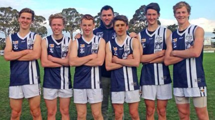 Geelong Falcons officials named Colac's Cooper Stephens and Campbell Tanis among the top-five footballers at this week's V-Line Cup. The players were among seven Colac district footballers at the event, from left, Carl Daffy, Campbell Tanis, Clay Mulgrew, coach Dan Casey, Zach Davis, Alex Lockhart and Cooper Stephens. Absent, Brett Robbins. PHOTO: Megan Tanis