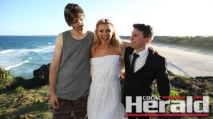 Colac comedy export Luke Goodall, right, hangs out with comedy partner Marc Gallagher, left, and model Gabrielle Epstein on the Gold Coast. The duo, known as Goodall and Gallagher, are producing material for American-based comedy app, Comedy.com and material also features on YouTube.