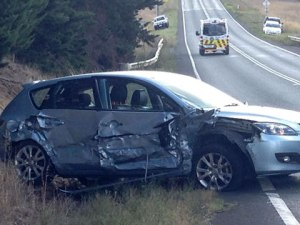 The fuel trailer was in a collision with this hatchback, which had two women inside.