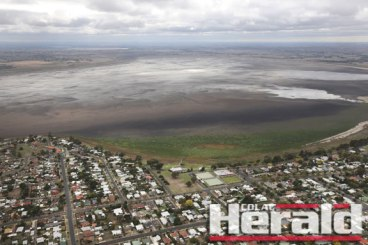 Colac Herald photographer Tammy Brown flew over Colac yesterday to capture the rapidly declining water levels of Lake Colac.