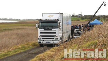 LOCATION: A film crew set up a filming location next to Lake Colac on Saturday to film a scene for an upcoming Chinese movie.