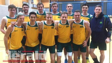 Colac's Billy Mahoney, pictured far right in the front row, was a part of Australia's 23-and-under men's netball team that won an international series against New Zealand.