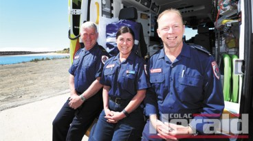 Apollo Bay ambulance officers, from left, Peter Biddle, Cheryl Parkin and Ian Turrell have received recognition their service to Ambulance Victoria.