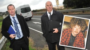 Deteictives Dave Renney and Stuart Sims of Colac CIU are investigating the death of Karl Walters, inset, 25 years ago.