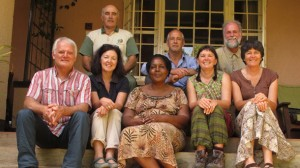 Uganda's Dr Joy Tukahirwa, centre, with Colac district agroforestry farmers, from left, David Curry, Marianne Stewart, Andrew Stewart, Rowan Reid, Wendy Robinson-Koss, Mike Robinson-Koss and Jill Stewart at Kabale, Uganda. The Otway Agroforestry Network members were in Uganda to teach a Master TreeGrower course.
